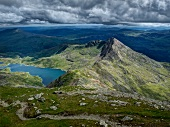 View from Snowdon mountain ranges with Llyn Llydaw lake in Snowdonian National park, Wales