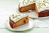 Carrot cake with quark and cranberries