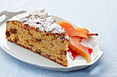 Apricot cake with dried apricots, sultanas and goat's cheese