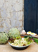 Egg salad with artichokes