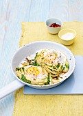 Herb pasta with egg, chilli, spring onions, chervil and parsley