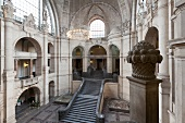 View of stairway at entrance of New Town Hall in Hannover, Germany