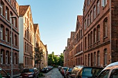Cars parked in alley of Hanover, Germany