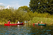People canoeing in Uckermarkischen lakes, Brandenburg, Berlin, Germany