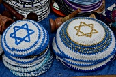 Close-up of Kippot caps in Alley, Safed, Israel