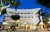 View of Hotel Cinema in Bauhaus-style lights at Dizengoff Square, Tel Aviv, Israel