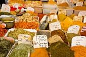 Various types of spices in Nachlat Binyamin Market, Tel Aviv, Israel