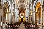 Interior of Notre-Dame Cathedral in Canton of Vaud, Lausanne, Switzerland