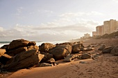 View of Umhlanga beach with rocks and skyline, South Africa