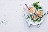 Abnehmen, Zuckerschoten-Schnitzel mit Quarkdip