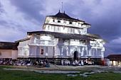 View of people at Lankatilaka Viharaya Temple in Kandy, Sri Lanka