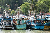 View of fishing boats moored at harbour in Tangalle, Sri Lanka