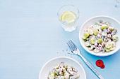 Abnehmen, Weintraubensalat, Schinken-Gurken-Salat