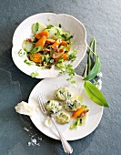 Wild garlic gnocchi with a kohlrabi and carrot medley