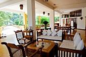 Table and chairs at Barberyn Reef Ayurveda Resort, Weligama, Sri Lanka
