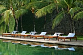 View of loungers and pool at Amangalla hotel, Galle Fort, Sri Lanka