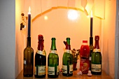 Lighted candles and various bottles of champagne, Neukolln, Berlin