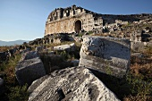View of ruins stones in Miletus, Aegean, Turkey
