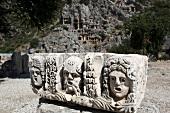 View of ruins Relief in Myra, Lycia, Aegean, Turkey