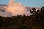 View of clouds and Spil Dagi National Park at evening, Aegean, Turkey
