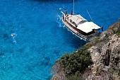 Türkei, Türkische Ägäis, Kaputas, Strand, Bucht, Urlauber, Schiff