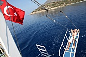 Türkei, Türkische Ägäis, Halbinsel Resadiye, Boot von Datca und Knidos