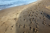 Foot print on beach of Sarigerme Park Iberthotel in Turkey