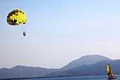 View of people paragliding in Turkey