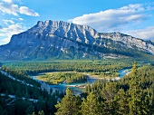 View of Mount Rundle, Bow river and Valley through Banff National Park, Alberta, Canada