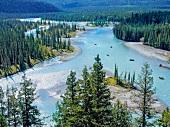 View of Athabasca River at Jasper National Park, Alberta, Canada
