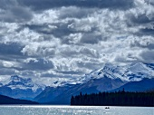 View of Maligne Lake, mountains and clouds at Jasper National Park, Alberta, Canada