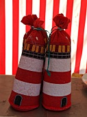 Close-up of souvenirs in form of lighthouse, Neuharlingersiel, Spiekeroog, Germany