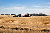 View of harvester in fields along Highway 731, Saskatchewan, Canada