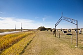 View of Catholic cemetery and landscape on Highway 15, Saskatchewan, Canada