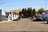 Parked cars on main street in Rockglen, Saskatchewan, Canada