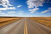 Landscape view of Highway 13 West, Saskatchewan, Canada