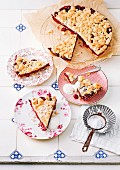 Cherry crumble cake with yogurt