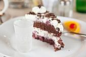 Close-up of piece of black forest cake in restaurant Lunenburg, Nova Scotia, Canada