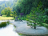 View of Castle Park and Zen garden with pebbles and rocks