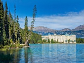 Picturesque of Lake Louise, Fairmont Hotel and mountains in Alberta, Canada