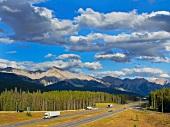 South facing highway 1 in Banff National Park, Alberta, Canada