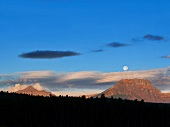 View of highway, blue sky and full moon in Banff National Park, Alberta, Canada