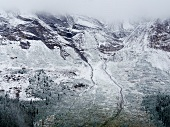View of Icefield Parkway covered with snow, Banff National Park, Alberta, Canada