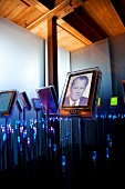 Willy Brandt photo frame with lights in gallery at Nobel Fredssenter, Oslo, Norway