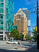 View of Burrard street and Pender street in Vancouver, British Columbia, Canada