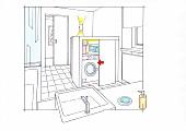 Abbildung, Zeichnung, Badezimmer, Waschplatz, Schrank