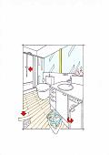 Abbildung, Zeichnung, Badezimmer, Waschplatz, Wäsche