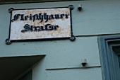 Close-up of street sign of Fleischhauerstrae in Schleswig Holstein, Germany