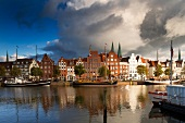 View of St.Mary's near Trave River, Lubeck, Schleswig Holstein, Germany