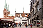 Market in front of town hall St. Mary's Church, Lubeck, Schleswig Holstein, Germany